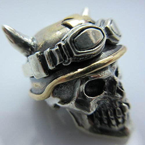 Biker Skull 2 Paracord / Lanyard Bead in .925 Sterling Silver & Bronze by GD Skulls by Jig Pro Shop