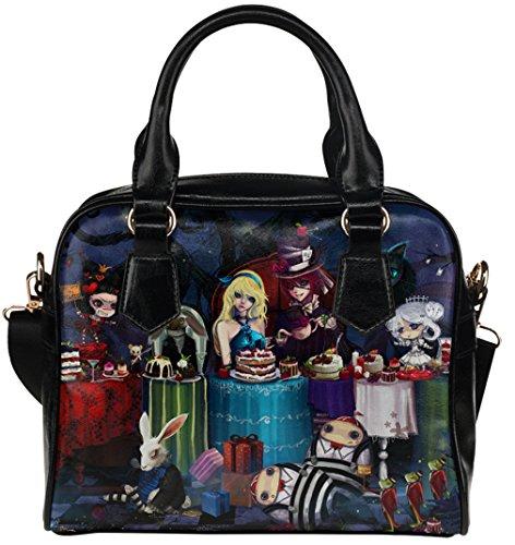 Women Female Crossbody Shoulder Top-handle Bags Shell Handbag with Alice In Wonderland Characters Pattern