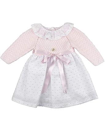 6e19cc8c2 Foque - faldón para niña con Capota a Juego. Cuerpo de Punto en Rosa bebé y  Falda de plumeti. Adornado con Lazo (Rosa y Blanco