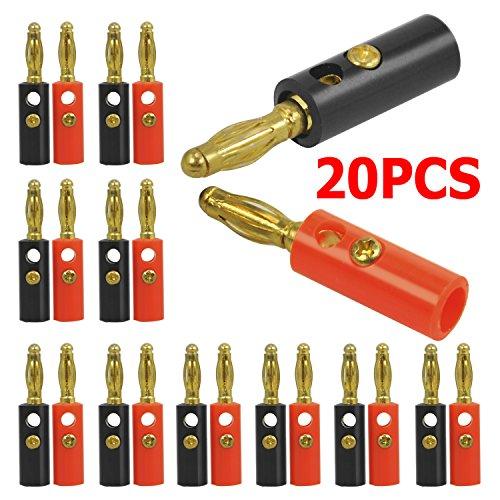 Yahee Bananenstecker Adapter Bananas Lautsprecher 20 Stück für Lautsprecherkabel Rot/Schwarz