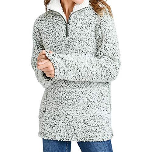 Love Tree Women's Sherpa 1/4 Zip Pullover Fleece Sweatshirt Long Sleeves (Olive, L) ()