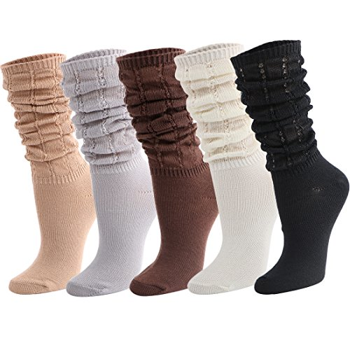 kilofly 5 Pairs Women's Lightweight Fashion Fitness Gym Slouch Knit Crew Socks]()
