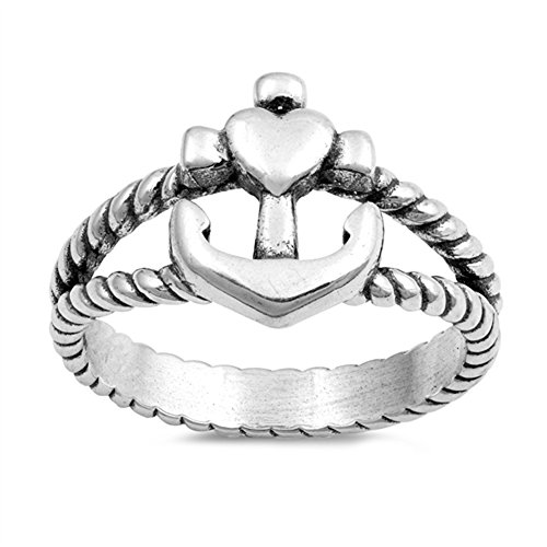 (Oxidized Cross Anchor Heart Ring Sterling Silver Twisted Rope Band Size)