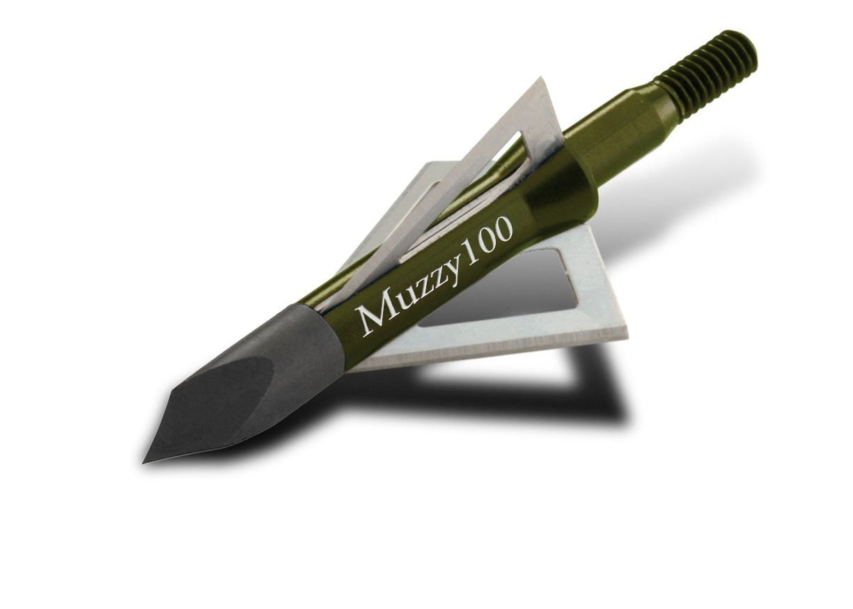 Muzzy 225 Bowhunting 100 Grain, 3 Blade Broadhead, 1-3/16'' Cutting Diameter, 6 Pack