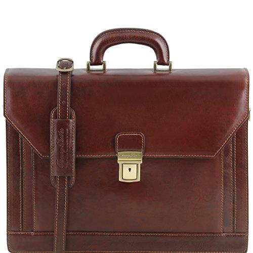 81413494 - TUSCANY LEATHER: ROMA (N) Cartable Porte ordinateur en cuir avec 3 compartiments, marron