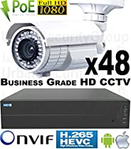 USG 48 Camera Security System * 24MP 64 Channel NVR * 48x 1080P 2MP 2.8-12mm PoE IP Bullet Cameras * 2x 4TB HDD * 2x 26 Port PoE Network Switches * Business Grade HD Video Surveillance * Phone App