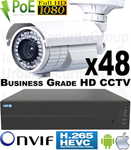 USG-48-Camera-Security-System-24MP-64-Channel-NVR-48x-1080P-2MP-28-12mm-PoE-IP-Bullet-Cameras-2x-4TB-HDD-2x-26-Port-PoE-Network-Switches-Business-Grade-HD-Video-Surveillance-Phone-App