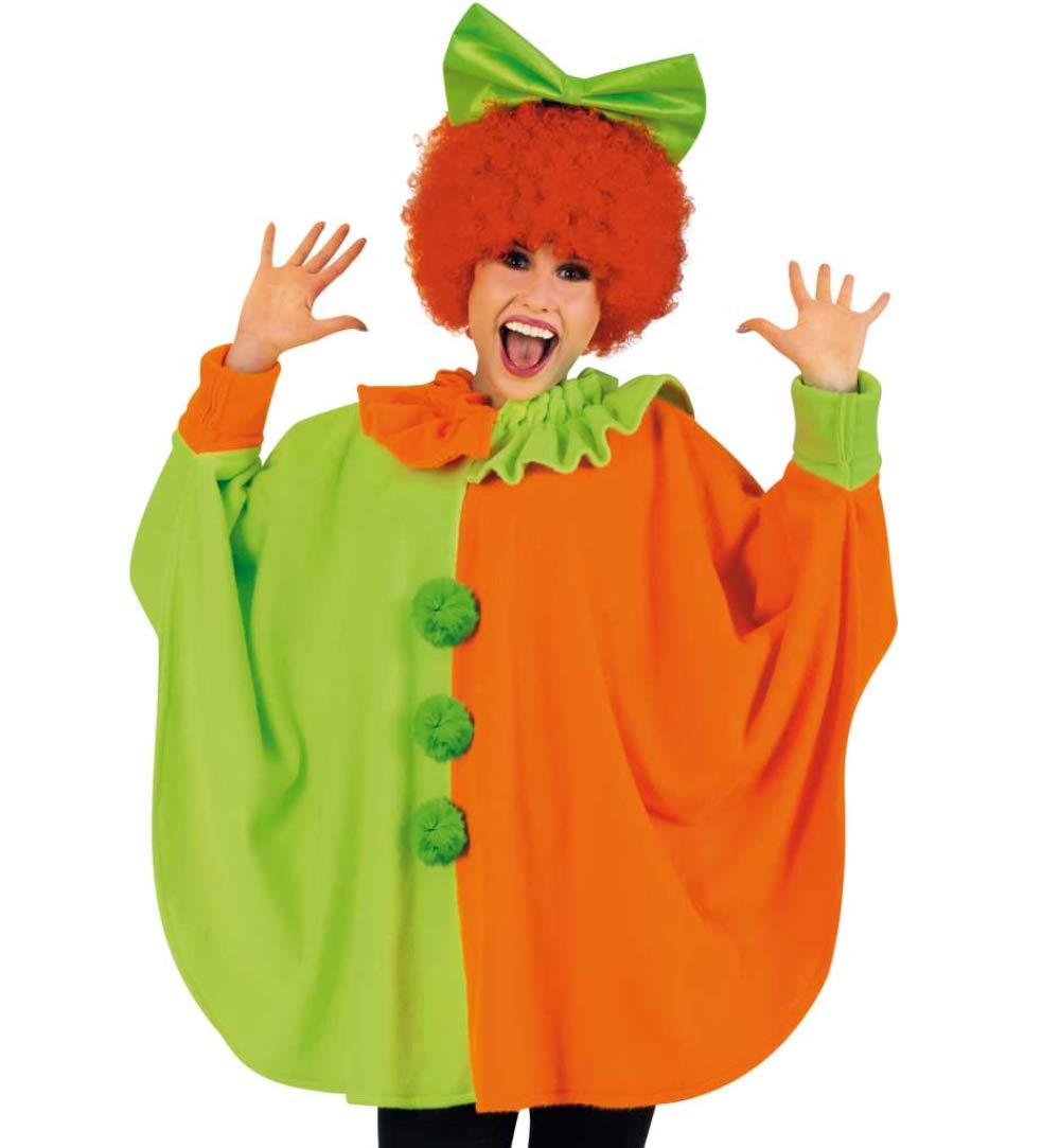 KarnevalsTeufel Erwachsenenkostüm Poncho Neon in grün/Orange mit Ärmeln und Kragen bunter Überwurf in Einheitsgröße