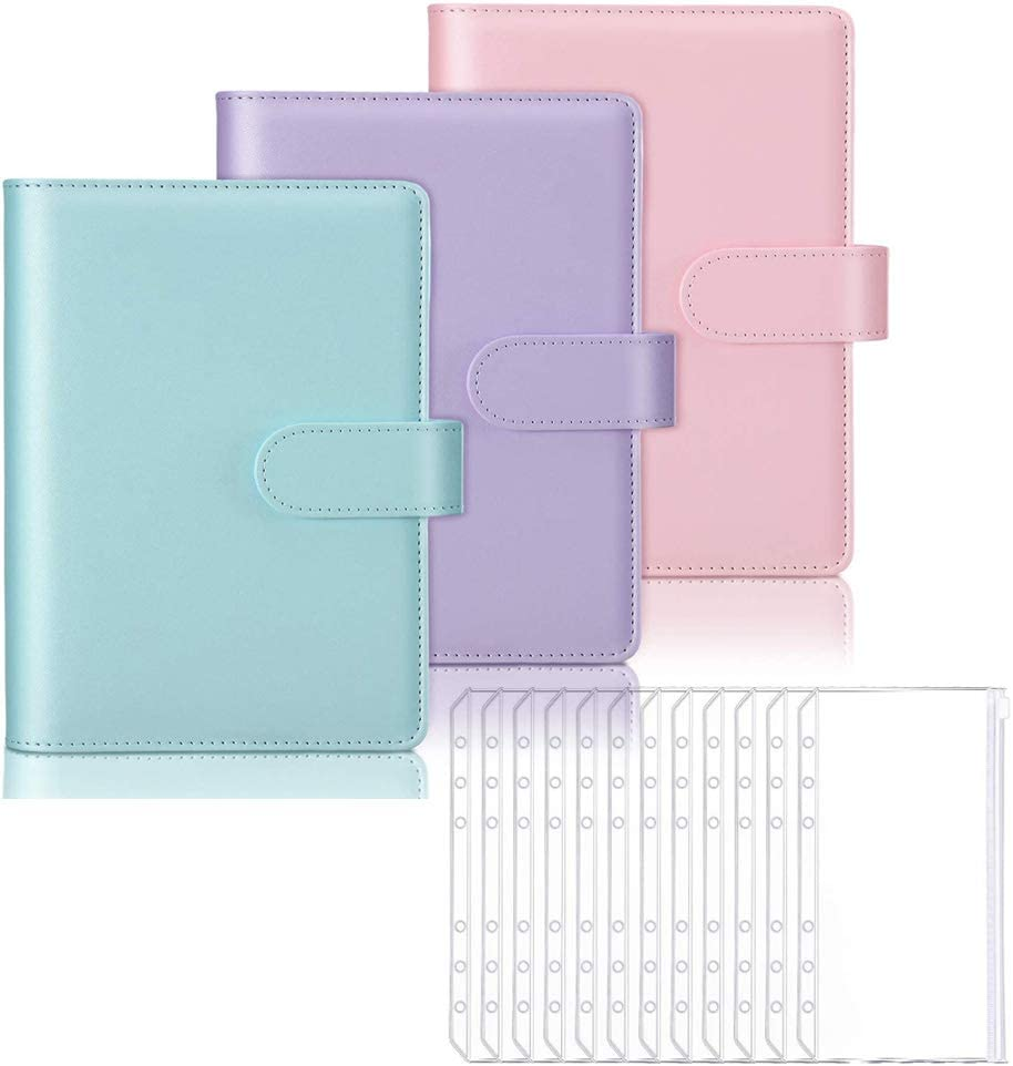 3 Pieces A6 PU Leather Notebook Binder 18 Pieces 6 Holes A6 Translucent Waterproof PVC Loose Leaf Zipper Bags Binder Pockets for Office School (Purple, Green,Pink)