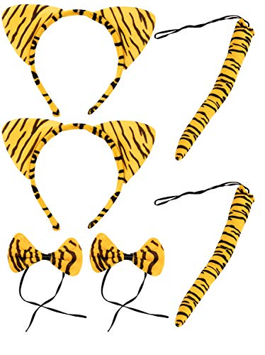 Halloween Tiger Costume - 2-Set Tiger Ears Headband Tail and Bow Tie, Animal Cosplay Kit