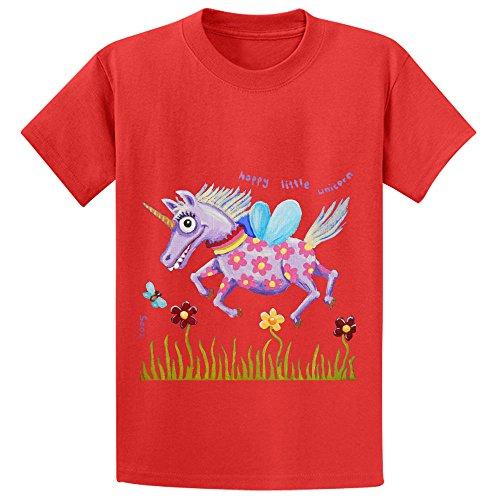 Price comparison product image Eva Happy Little Unicorn Child Crew Neck Graphic Shirts Red