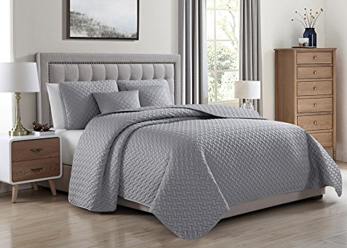 Satin Coverlet Squares (SuperBeddings Francesco 5-Piece Matt Satin Quilted Quilt, Coverlet & Bed Cover Set, Stitched Pattern, Solid Color, Soft Microfiber w/ 100% Polyester Filling Bedspread (Light Gray, Full/Queen))
