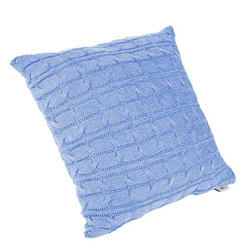 Modem Cover - SINOGEM Decorative Soft Handmade Knit Cushion Covers Throw Pillow Cover for Sofa 18 x 18 Inches Square (Twist, Sky Blue)