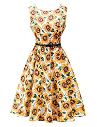 Dasbayla Ladies 1950s Vintage A-Line Swing Dresses with Belts 10 Color S-XXL