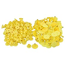 BQLZR 3 x 2.5cm Yellow Plastic Round Shape Livestock Ear Tag For Pigs Sheep Goats Dogs Pig Pack of 100