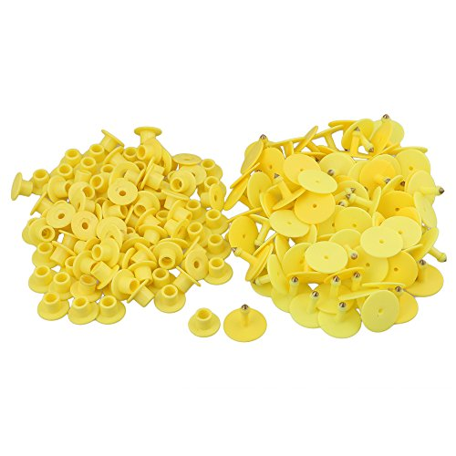 BQLZR 3x2.5cm Yellow Plastic Round Shape Livestock Ear Tag For Pigs Sheep Goats Dogs Pig Pack of 100 by BQLZR