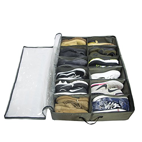 ACMETOP Built-in Structure Under Bed Shoe Storage, Space Saver Organizer, Sturdy & Breathable Materials, Solid Zippered, Dust-Free Design, Underbed Shoes Closet Storage Solution (12 Cell)