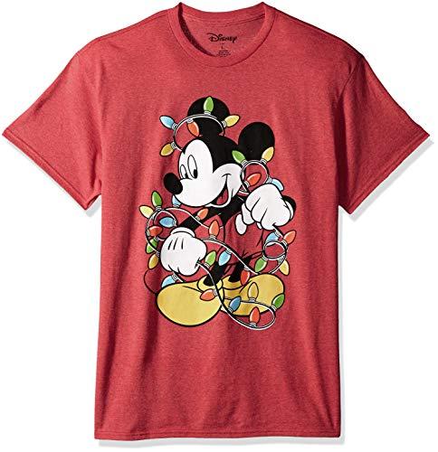 Christmas T Shirts With Lights (Disney Men's Mickey Mouse Christmas Lights T Shirt, red,)