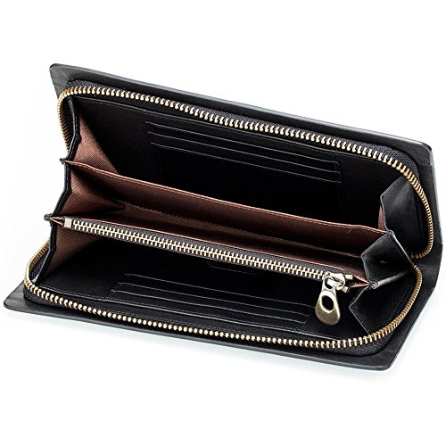 term bag LIGYM erect Men's long leather purse retro face Hard square zipper OUq8Ow