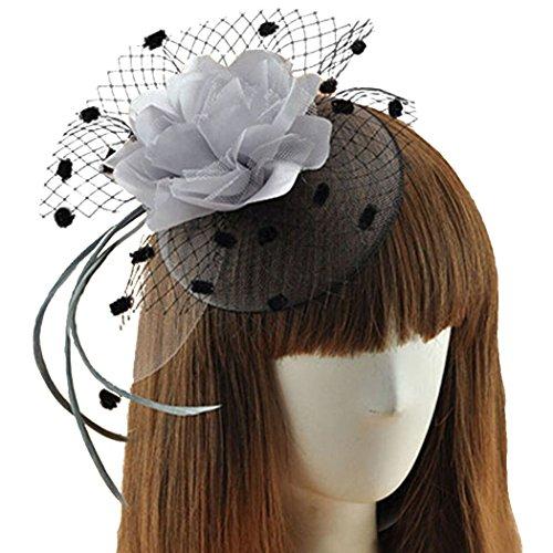 [Coolwife Womens Fascinator Veil Flower Cocktail Tea Party Headwear (Grey)] (Ganster Hat)
