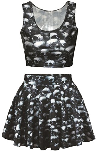 Women Black Skull Skeleton Print 2 Piece Set Crop Tank Top and Summer Mini Skirt