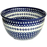 Polish Pottery Flowering Peacock Large Mixing Bowl