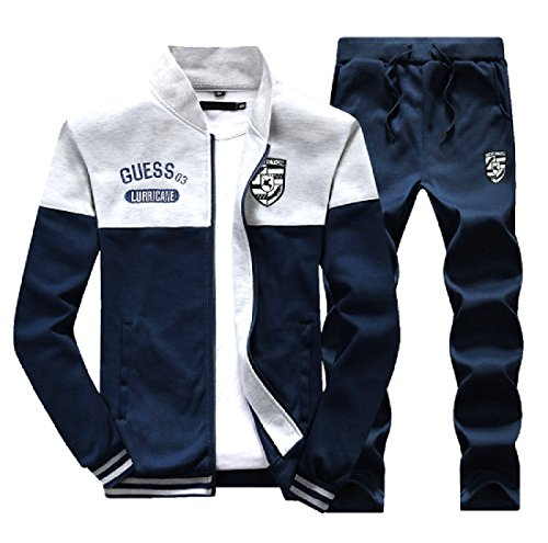 Comfy Mens Casual Leisure Splice with Zips Embroidered Sweatsuit Set Light Grey L