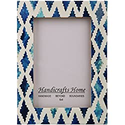 Handicrafts Home Picture Photo Frame Indigo Moorish Quatrefoil Handmade Naturals Bone Frames from Photo Size 4x6 (INDIGO-1)
