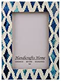 Handicrafts Home Picture Photo Frame Indigo Moorish Quatrefoil Handmade Naturals Bone Frames from Photo Size 4x6 (INDIGO-1)