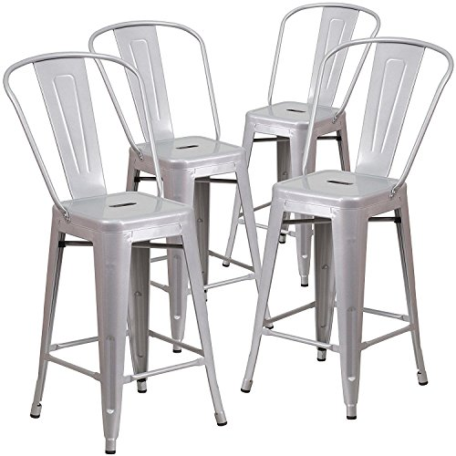 """Set of 4 Steel Industrial Style Counter Height Stools with Footrest and Back 24"""" inch high Bar Stool, Home Kitchen Sleek Modern Seating Design, Indoor & Outdoor Contemporary or Retro -"""