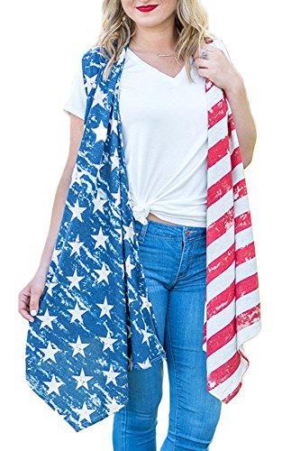 4th of July Womens Star Stripe Patriotic Asymmetrical Hem American Cotton Open Front Cardigan US Flag XL ()