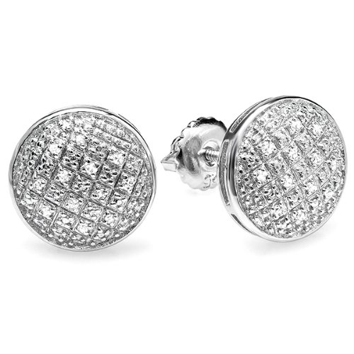 0.20 Carat (ctw) Sterling Silver Round Diamond Concave Circle Shape Mens Ladies Unisex Stud (0.2 Ct Diamond Earrings)