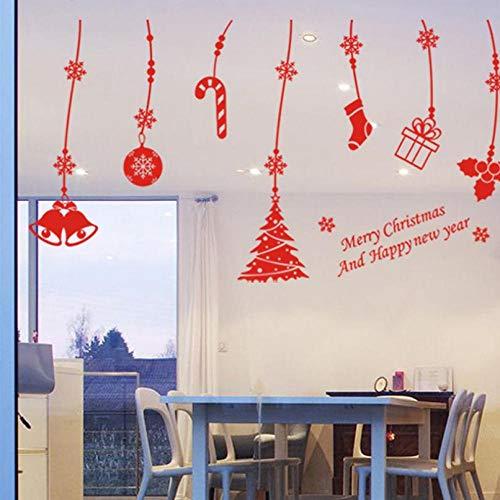 (weilaike Merry Christmas Sleigh Tree Stocking Bell Wall Sticker Room Decoration DIY Vinyl Gift Family Decal Festival Art Poster 45 X 83Cm)