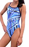 Adoretex Women's Pro One Piece Athletic Swimsuit-FN031-Sky Blue-34