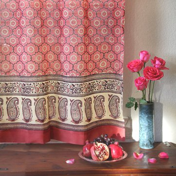 India Rose – Pink Palace Inspired Hand Printed – Elegant Romantic Sheer Cotton Voile Curtain Panel – Tab Top or Rod Pocket – (46 x 84) (Sunray Medallion)