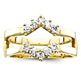 ICE CARATS 14k Yellow Gold Diamond Guard Size 6.00 Ring Engagement Wrap Fine Jewelry Gift Set For Women Heart