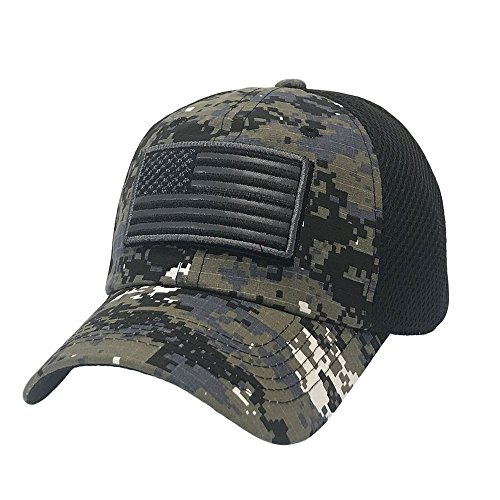 The Hat Jungle USA American Flag Patch Tactical Hat Mesh Back Adjustable Baseball Cap,Black Camo