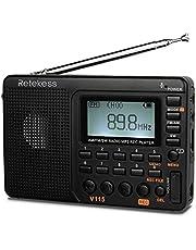 Rádio AM FM portátil Retekess V115 com rádio curto, leitor de MP3, leitor digital, suporte para gravação de cartão micro SD TF, temporizador de sono e bateria recarregável (preto)