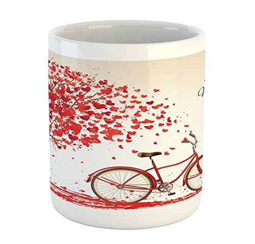 Ambesonne Valentines Day Mug, Romantic Tree with Blooming Hearts with Bike and Petals Vintage Artwork, Printed Ceramic Coffee Mug Water Tea Drinks Cup, Cream Vermilion -