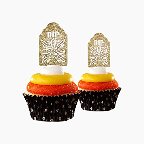 Tombstone Halloween Cupcake Topper 12 pieces per Pack Decoration Cake glitter Card Stock Gold ()