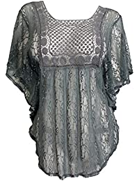 eVogues Sheer Crochet Lace Poncho Top