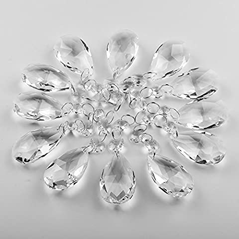 Supla Pack of 24 Teardrop Chandelier prisms candle chandelier Crystal Pendants Glass Pendants Beads (Crystal Prism Pendant)