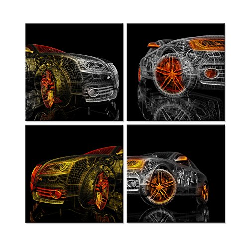 Hello Artwork - Abstract Canvas Wall Art Colorful Cars 3D Model Design On Black Background Picture Painting for Home Decoration Stretched Canvas and Ready to Hang 12''x12''x4pcs - Canvas Art Car