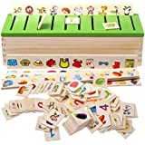 HNT Kid's Knowledge Classification Box Puzzle Wooden 80 Pieces Educational Toy (Multicolour)