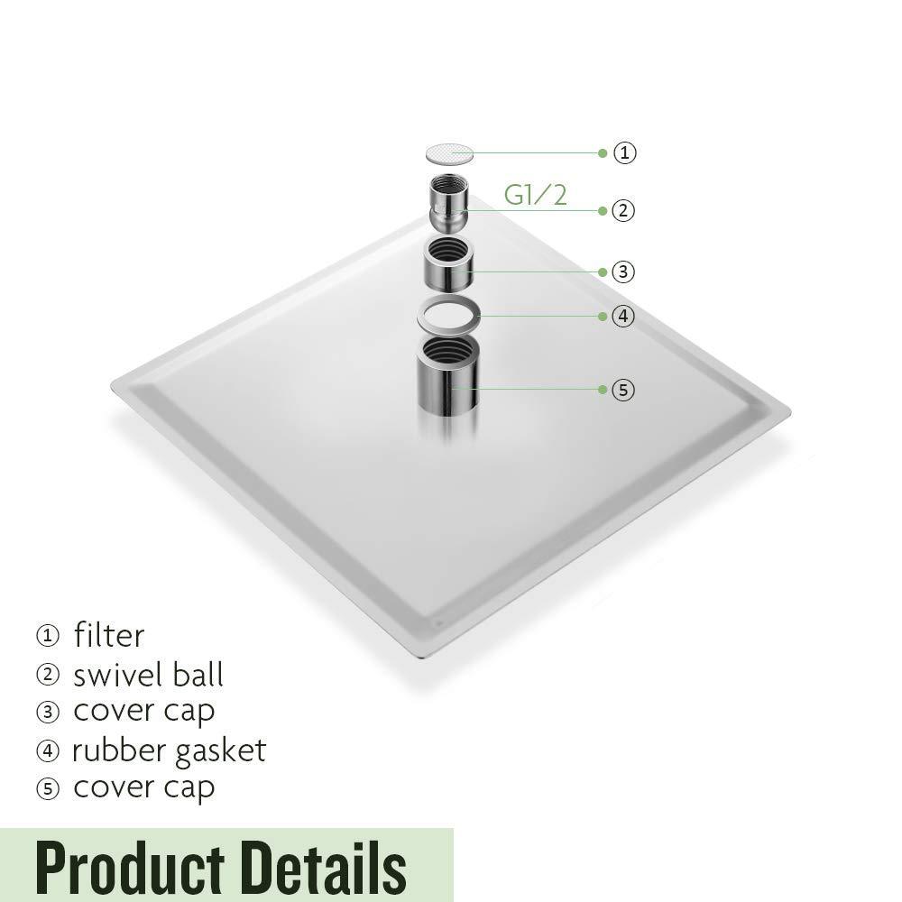 cromo pulido Alcachofa de ducha de lluvia LED de alta presi/ón ultra delgada 304 acero inoxidable cuadrado lluvia cabezal de ducha acero inoxidable 12 inch//30cm