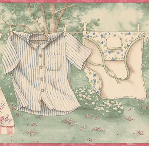 Retro Clothes Drying Line Green Forest Clouds Wide Wallpaper Border Vintage Design, Roll 15' x 10.25'' (Wallpaper Border Cloud)