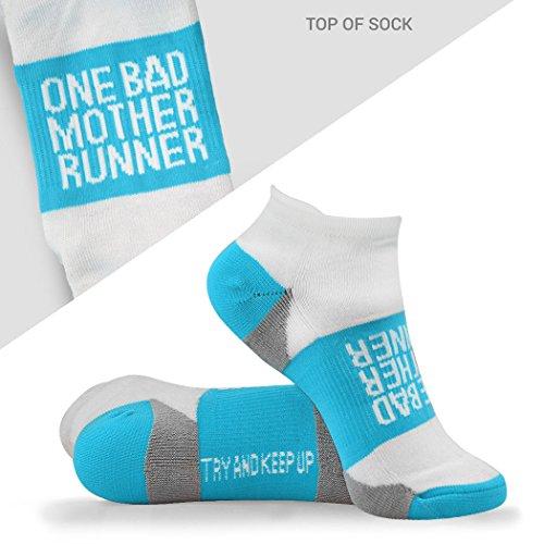 Inspirational Athletic Running Socks   Women's Woven Low Cut   Mother Runner   Blue