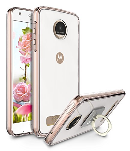 Moto Z Play Case, Moto Z Play Droid Case, Style4U Scratch Resistant Shock Absorbent Ultra Slim Crystal Clear PC Back TPU Bumper Case for Motorola Moto Z Play [Rose Gold] with 1 Ring Holder Kickstand
