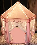 Sherosa Kids Indoor Princess Castle Play Tent - Outdoor Large Children Playhouse with LED Star Lights - Perfect Birthday Gift Presents For Child Toddlers Pink