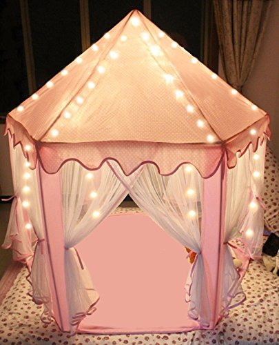 Sherosa Kids Indoor Princess Castle Play Tent - Outdoor Large Children Playhouse with LED Star Lights - Perfect Birthday Gift Presents For Child  Pink